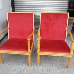 Chaise tapissier et bois ouge
